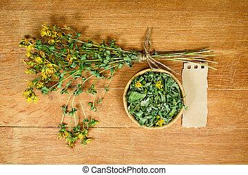 薬, tutsan., herbs., dried., 草, 薬効がある, phytotherapy