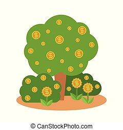 薮, 平ら, スタイル, 概念, お金の 木, ベクトル