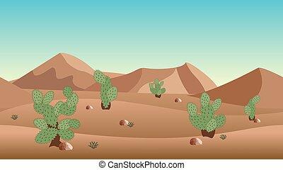 薮, 砂丘, バックグラウンド。, 砂, サボテン, 砂漠の 景色