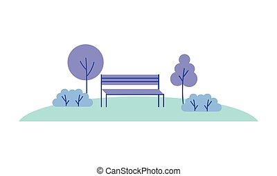 薮, 自然, 公園, 木, ベンチ, 風景