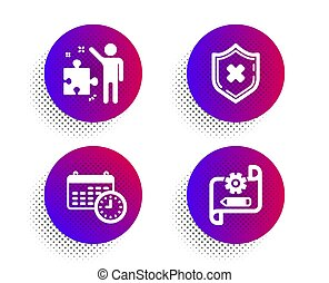 藍圖, 商務圖標, 保護, 徵候。, 不, 戰略, 時間, 矢量, 拒絕, plan., 安全, 日曆, set., cogwheel