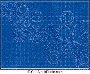藍圖, 背景, 由于, 嵌齒輪
