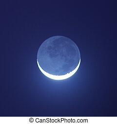 藍的月亮, 發光, 在, the, 夜晚