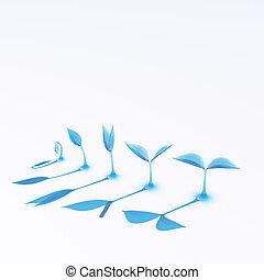 藍的玻璃, 生長, 新芽
