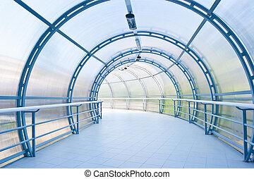 藍的玻璃, 走廊, 在, 辦公室, 中心