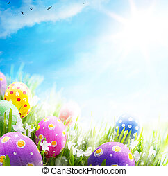 藍的花, 鮮艷, 蛋, 天空, 背景, 裝飾, 草, 復活節
