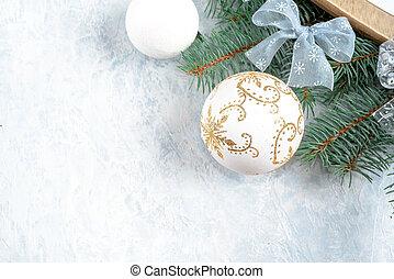 藍色和白色, 聖誕節, 裝飾, 由于, 模仿, space.