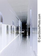 藍色和白色, 音調, ......的, 長, 走廊, 在, 醫院