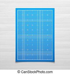 藍色正方形, 被隔离, 結構, 木頭, 柵格, 陰影