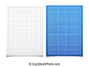 藍色正方形, 被隔离, 集合, 柵格, 白色, 陰影