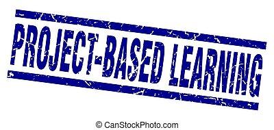 藍色正方形, grunge, 郵票, project-based, 學習