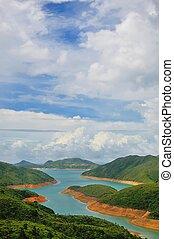 藍色的天空, 上, a, 湖
