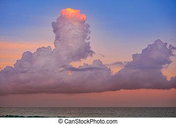 藍色的天空, 云霧, 傍晚, 橙