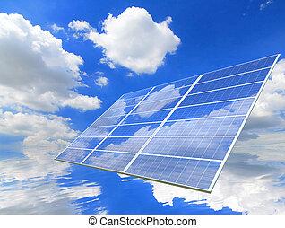 藍色的天空, 以及, 懷特雲, 反映, 上, 太陽面板