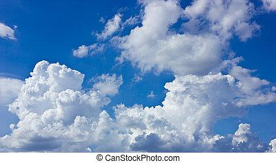 藍色的天空, 以及, 白色, clouds.