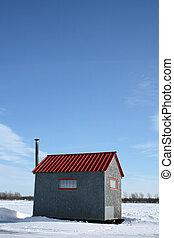 藍色的天空, 冰, 小屋, 釣魚, 在下面