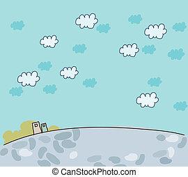 藍色的天空, 外部, 建築物