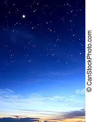藍色的天空, 由于, 云霧