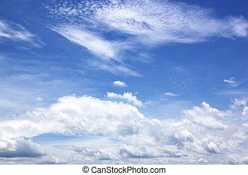 藍色的天空, 由于, 雲, 人物面部影像逼真