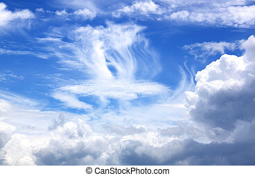藍色的天空, 由于, 雲