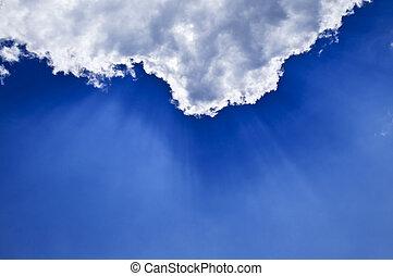 藍色的天空, 由于, sunrays