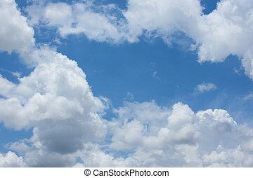藍色的天空, 背景, 由于, 雲, strom