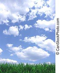 藍色的天空, 草, 綠色
