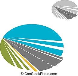 藍色的天空, 長的道路, 或者, 高速公路, 圖象