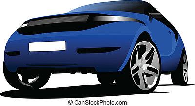 藍色的小汽車, 上, the, road., 矢量