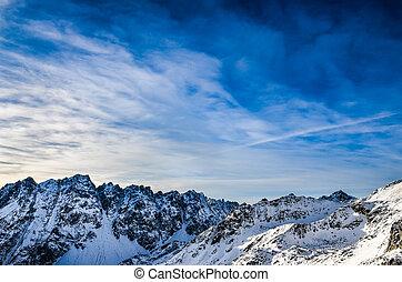 藍色的山, 冬天, 天空, 多雲, 高, 風景, tatras