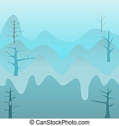 藍色的山, 早晨