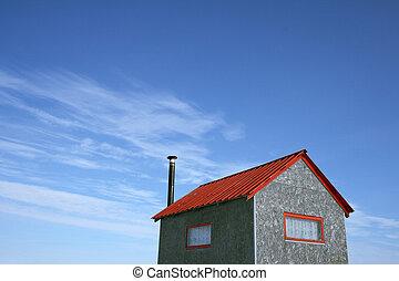 藍色的房子, 很少, 天空