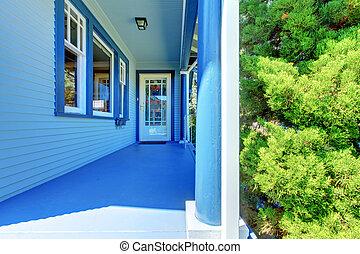藍色的房子, 蓋, 前面門廊, 由于, 入口, door.