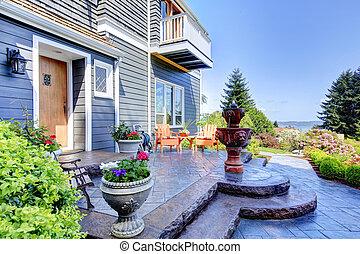 藍色的房子, fountain., 豪華, 外部, 前面