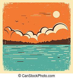 藍色的湖, 老, 風景, 海報, 大