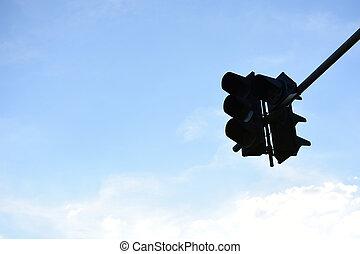 藍色的燈, 天空, 交通, 背景。