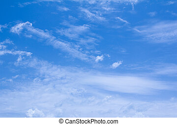 藍色的白色的天空, 雲, 背景