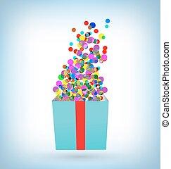 藍色的箱子, 五彩紙屑, 禮物