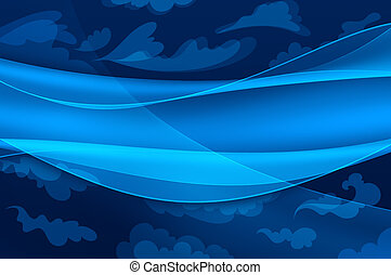 藍色的背景, -, 摘要, 波浪, 以及, 被風格化, 云霧