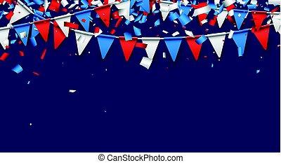 藍色的背景, 由于, 旗, 以及, confetti.