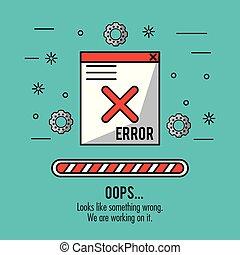 藍色的背景, 由于, 窗口, 消息, 錯誤, oops, 以及, 裝貨, 酒吧
