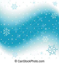 藍色的背景, 雪花, (vector), 聖誕節