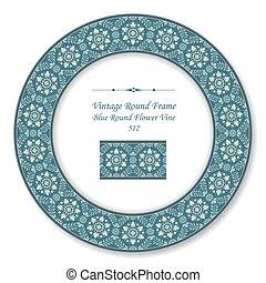 藍色的花, 葡萄酒, 框架, 葡萄樹, retro, 輪