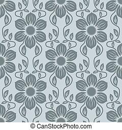 藍色的花, seamless, 灰色, 背景。, 矢量