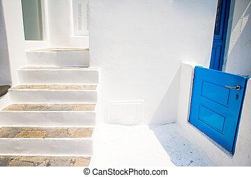 藍色的門, 舒適, 樓梯, 街道, cyclades., mykonos, 小, 典型