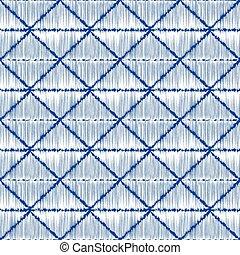 藍色, パターン, 日本語, sashiko, 伝統的である, 刺繍, 染料, 白