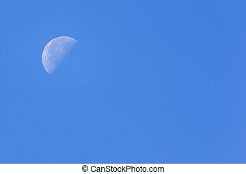 藍色, 一半, 天空, 月亮