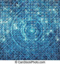 藍色, 二進制, 矩陣, 摘要, 技術, 背景