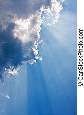 藍色, 云霧, 天空, 發光, sunbeam, through.