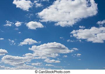 藍色, 云霧, 天空, 背景。